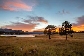Sunset light spills over Luna Lake and the grassy meadow. Alpine, AZ.