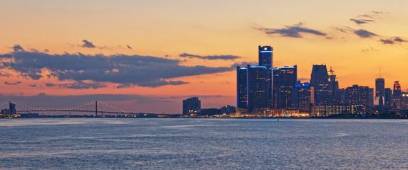 Skyline of Detroit Michigan at sunset