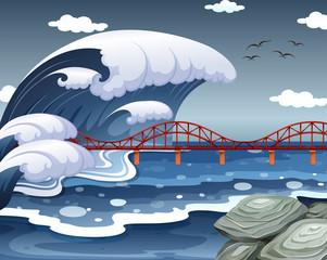 A tsunami hit the ocean bridge