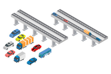 isometric highways, vehicles and street lights, vector illustrations