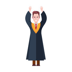 graduate man with arms up celebrating