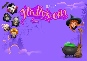 Happy Halloween template frame text greeting card. Set heads character for costume masquerade party halloween