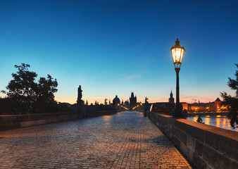 Wall Murals Paris Prague, Charles Bridge early in the morning, panoramic image