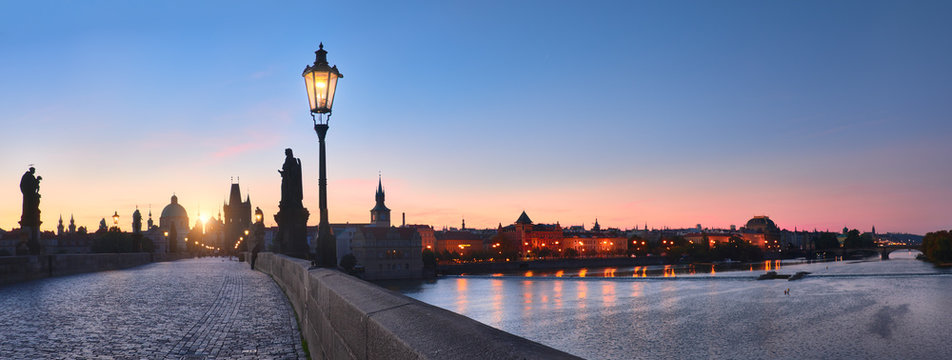 Prague, Charles Bridge early in the morning, panoramic image