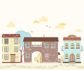 Cartoon street with houses, clouds, trees
