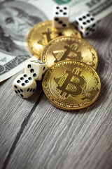 Bitcoins, dollars and dices. Cryptocurrencie gambling concept
