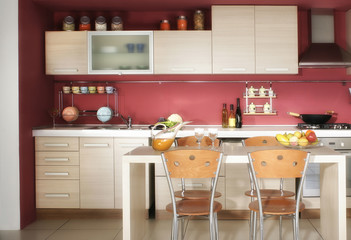 Close up domestic modern kitchen design