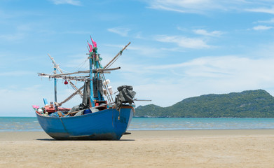 Blue Fishing Boat on Sam Roi Yod Beach Prachuap Khiri Khan Thailand Close Up