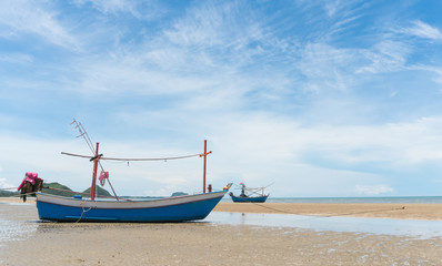 Blue Fishing Boat on Sam Roi Yod Beach Prachuap Khiri Khan Thailand