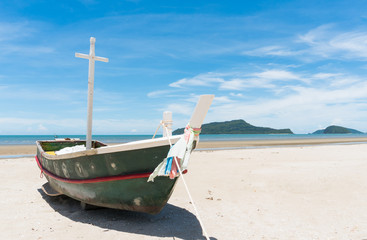 Fishing Boat and Blue Sky on Sam Roi Yod Beach Prachuap Khiri Khan Thailand 2