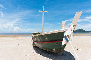 Fishing Boat and Blue Sky on Sam Roi Yod Beach Prachuap Khiri Khan Thailand Right Frame