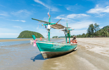 Green Fishing Boat at Sam Roi Yod Beach Prachuap Khiri Khan Thailand Center
