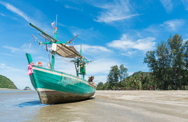 Green Fishing Boat at Sam Roi Yod Beach Prachuap Khiri Khan Thailand Left