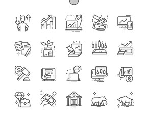 Stock Market Well-crafted Pixel Perfect Vector Thin Line Icons 30 2x Grid for Web Graphics and Apps. Simple Minimal Pictogram