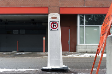 No parking sign stand on street