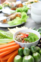 Thai food, Fried mackerel with shrimp paste sauce and vegetable.