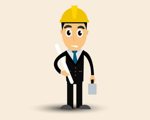 Engineer man construction engineer cartoon vector.