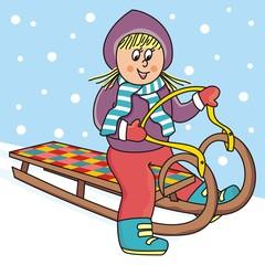 Girl on a sleigh, vector illustration