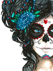 mexican catrina scull illustration in watercolor style. Dia de los muertos day. Halloween poster background, greeting card or other design on white backdrop