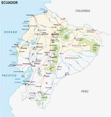 The republic of Ecuador road and national park vector map