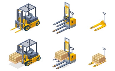 Warehouse hydraulic equipment for cargo, pallets lifting and loading isometric vector set isolated on white background. Forklift, pallet trolley, fork truck machines carrying parcels or packed goods
