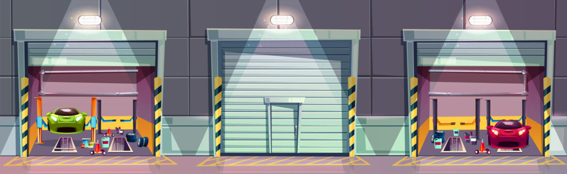 Vector cartoon mechanic box with car on lift, repairing of the vehicle. Fixing sport transport in garage. Storeroom with tools, parts and details. Background with automobile service with roll door.