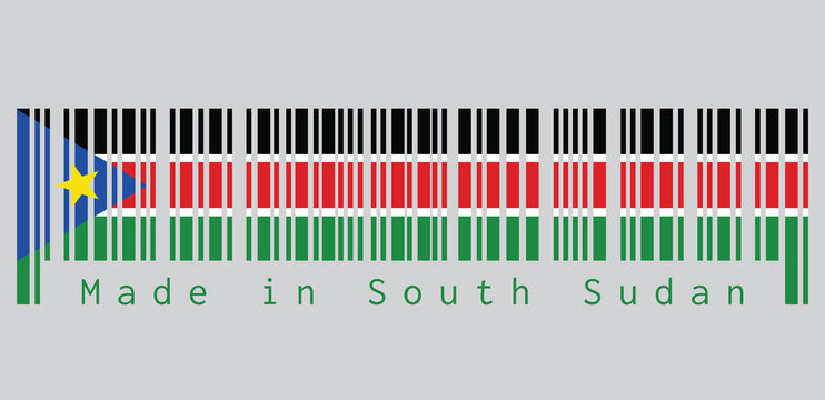 Barcode set the color of South Sudanese flag, black red and green with white stripes; with a blue equilateral triangle and gold star. text: Made in South Sudan.