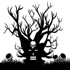 Scary tree with skull, silhouette design for Halloween holiday, on white background,