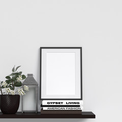Frame Mockup Poster Mockup Interior With Decoration on Cabinet