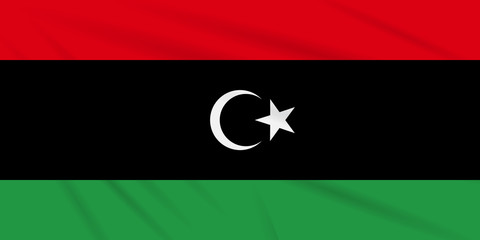 Flag Libya swaying in the wind, realistic vector