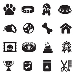 Dog Icons. Black Flat Design. Vector Illustration.
