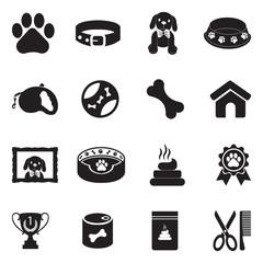 Dog Icons. Black Flat Design. Vector Illustration.
