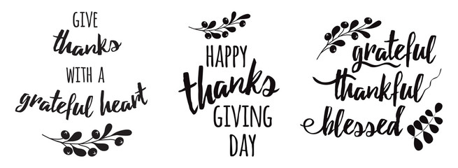 Thanksgiving set phrases Grateful thankful blessed text floral black autumn branch black