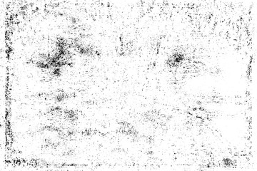 Grunge background black and white. Texture of chips, cracks, scratches, scuffs, dust, dirt. Dark monochrome surface. Old vintage vector pattern