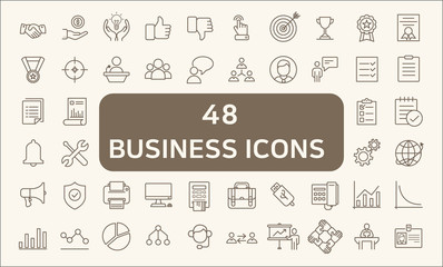 Set Of 48 Business Outline Icons Set.
