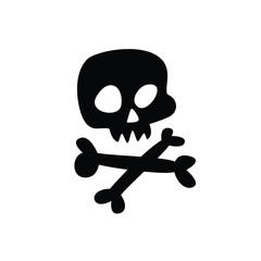 Cartoon skull. Vector. Flat icon of stylized human skull. Great sign. Jolly Roger. The symbol for the logo. Sticker.