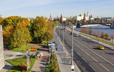 Moscow, Russia, Embankment. Kremlin. Kremlin embankment runs along the Moscow river past the southern wall of the Kremlin.