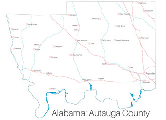 Detailed map of Autauga county in Alabama, USA