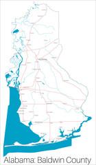 Detailed map of Baldwin county in Alabama, USA