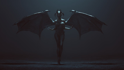 Sexy Winged Devil Woman in a foggy void 3d Illustration 3d render