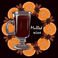 Mulled wine with a wreath of oranges and cinnamon. Vector image on a brown background.
