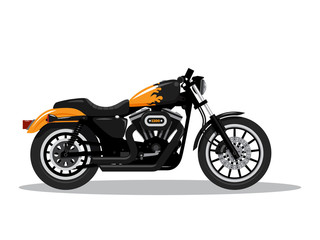 Classic detailed motorcycle in flat style design. Side view. Vector illustration