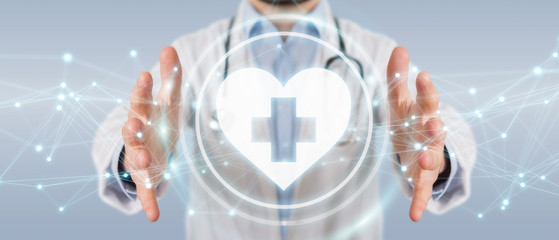 Doctor holding heartbeat digital interface 3D rendering