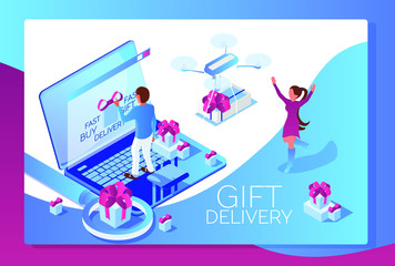 Gift delivery landing page, man sending present to woman by drone, 3d isometric vector illustration with people and modern technology devices