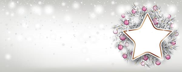 Weihnachten Banner mit einem Adventskranz mit Stern eingeschneit im Schneesturm