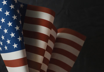 The Veterans Day  concept united states of America flag on black background..