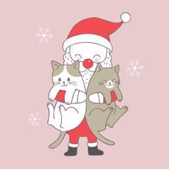 Cartoon cute Christmas Santa Claus and cats vector.