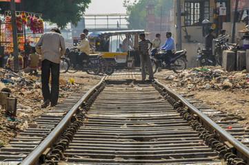 Rails in the city center of Bikaner