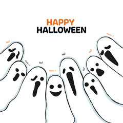 Happy Halloween hand drawn style.