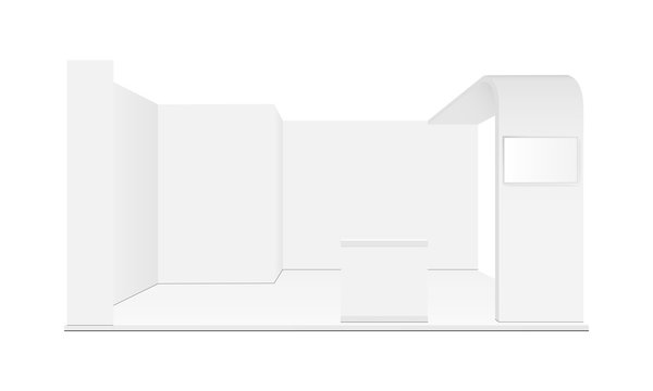 Blank exhibition trade show booth mockup. Vector illustration
